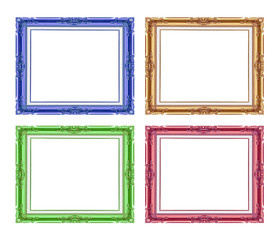 antique frame colorful callection set isolated on white background