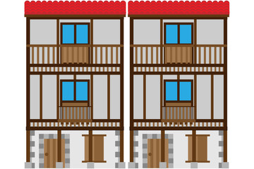 Casas medievales de madera.