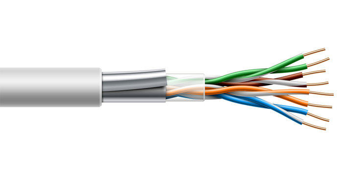 Twisted pair cable with fiol shield structure. Vector realistic illustration.