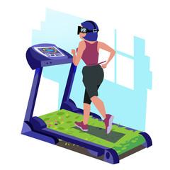 girl with vr headset running on tradmill of grass  - vector