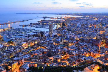 City and port of Alicante at dusk elevated view, Costa Blanca Spain Europe