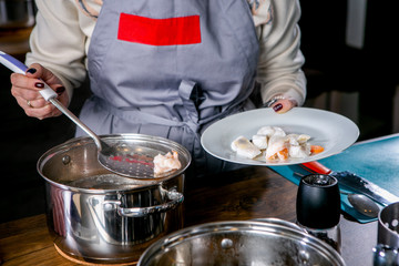Master class in the kitchen. The process of cooking. Chef cooks shrimp. Step by step. Tutorial. Close-up