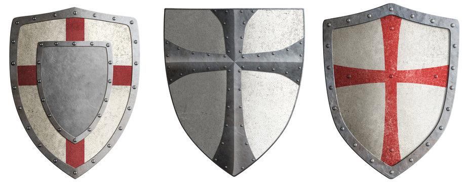 crusader's metal shields set 3d illustration