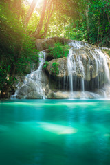 Photo sur Aluminium Cascade Beauty in nature, amazing Erawan waterfall in tropical forest of national park, Thailand