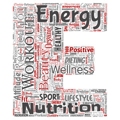 Vector conceptual healthy living positive nutrition sport letter font word cloud isolated background. Collage of happiness care, organic, recreation workout, beauty, vital healthcare spa concept