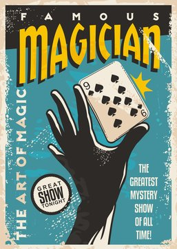 Magician poster design with hand silhouette and plating cards. Magic tricks show retro flyer template on blue background. Vector vintage illustration.