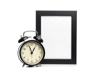 black photo frame and clock isolated on white background.