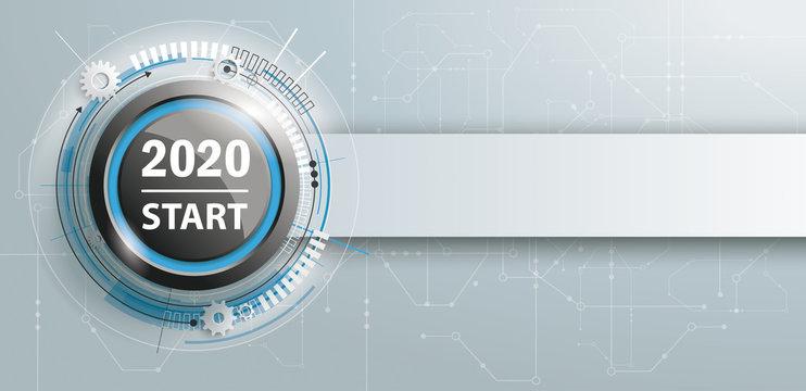 2020 Start Button Circuit Board Banner