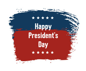 Happy President's Day national US holiday. Greeting card with USA American flag, handwritten bold text and stars. Isolated on white background.
