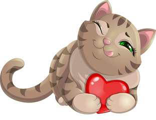 Illustration of tabby cat hugging a red heart isolated on white background. Thick brown can holding a heart in its paws. Vector illustration of cat with heart.