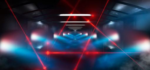 Dark tunnel, corridor, rays of light, searchlights, light in windows, red laser. Abstract black tunnel, smoke, wet asphalt, night view.