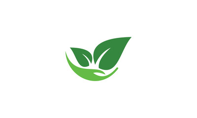 eco icon with green leaves