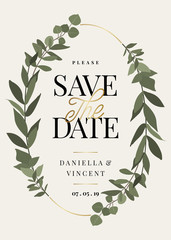 Eucaliptus Branches Save the Date Card Template