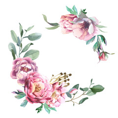 Watercolor frae of peony and blosom flowers isolate in white background for wedding, invitation, valentine cards and prints