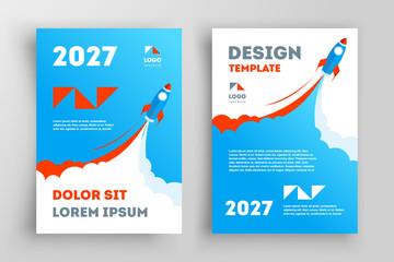 Rocket Flyer Brochure Design Startup. Front and back template design cover. Business flyer size A4 template.
