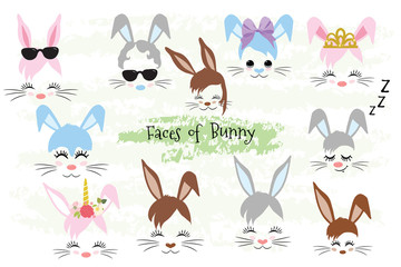 Happy Easter Bunny face Clipart brown, gray, blue, pink, purple, violet bunny animal hipster Unicorn Little Mister Miss. Easter gift