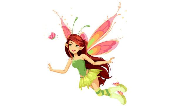 Flying butterfly fairy