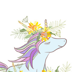 Retro style botanical illustration with flowers and animal. Delicate background with floral composition