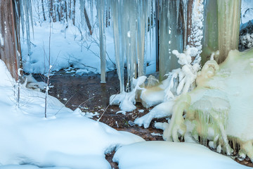 Icicles, snow and water