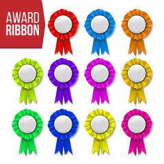 Award Ribbon Set Vector. Certificate Banner. Celebration Tag. Advertising Event. Best Trophy. Luxury Product. Object Template. Reward Rosette. Sign. Quality Background. 3D Realistic Illustration
