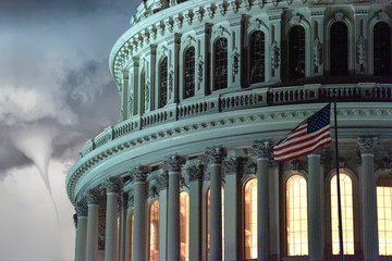 Wall Mural - illuminated dc capitol at night in washington usa with tornado