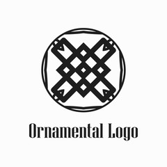 Round abstract geometric logo template design in art deco vintage style. Vector illustration.