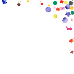 Watercolor confetti on white background. Rainbow colored blobs square corner. Colorful bright hand painted illustration. Happy celebration party background. Captivating vector illustration.