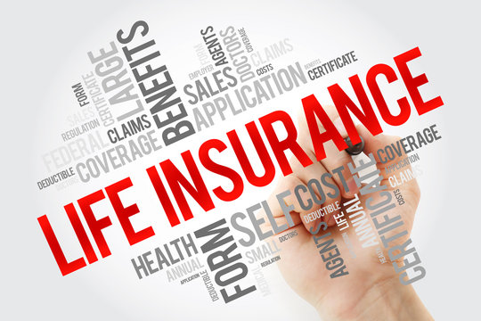 LIFE Insurance word cloud with marker, concept background