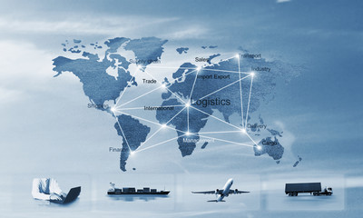 Transportation, import-export, logistic, shipping business management