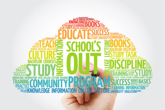 School's Out word cloud with marker, education concept background