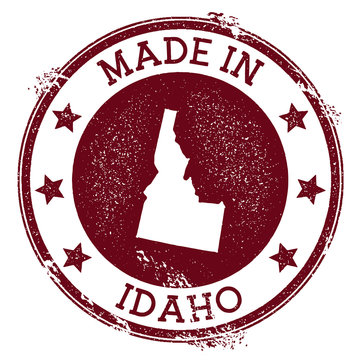 Made in Idaho stamp. Grunge rubber stamp with Made in Idaho text and us state map. Valuable vector illustration.