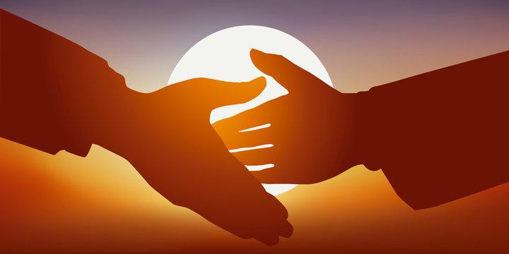 Concept de la signature d'un accord de collaboration, avec une poignée de main amicale, entre deux partenaires