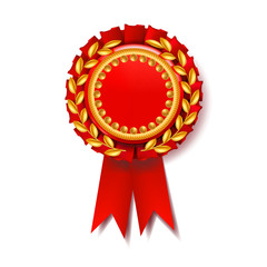 Red Award Ribbon Vector. Certificate Banner. Celebration Tag. Advertising Event. 3D Realistic Illustration
