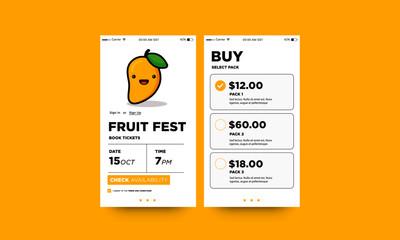 Fruit Festival App Interface Design with Cute Mango Vector Illustration