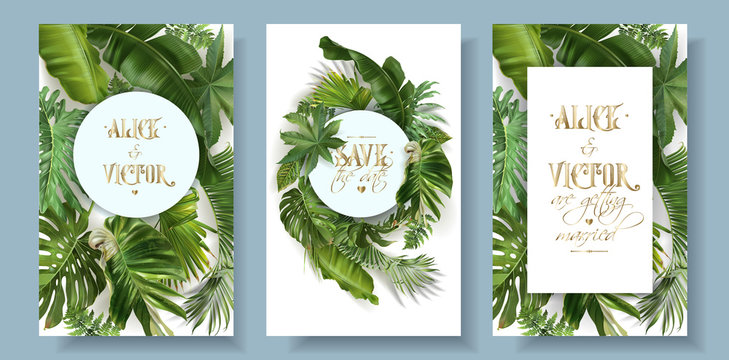 Vector ropical leaves wedding invitation card set