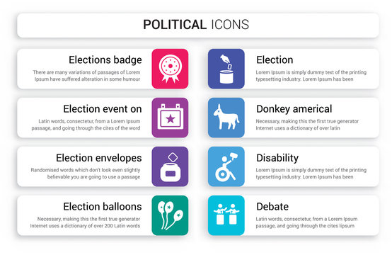 Set of 8 white political icons such as Elections badge with a star, Election event on calendar envelopes and box, balloons couple isolated colorful background