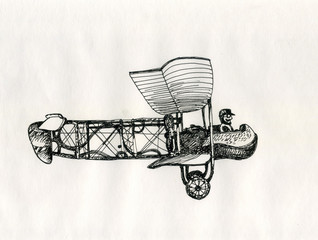 Aircraft vintage cartoon style ink drawing.