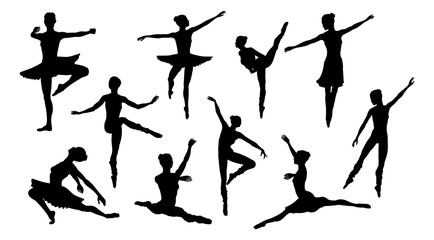 Silhouettes of a ballet dancer dancing in various poses and positions