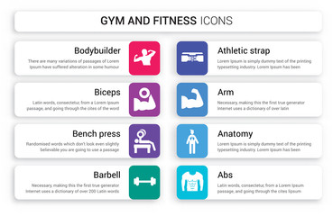 Set of 8 white gym and fitness icons such as Bodybuilder, Biceps, Bench press, Barbell, Athletic Strap, Arm isolated on colorful background