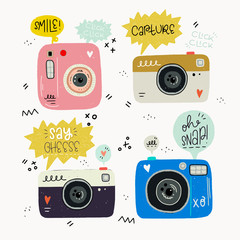 Set of old hipster photo cameras