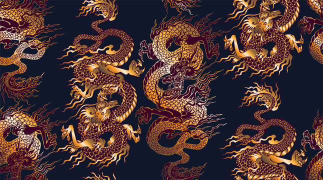 Pattern of asian dragon. Vector illustration. Suitable for fabric, wrapping paper and the like