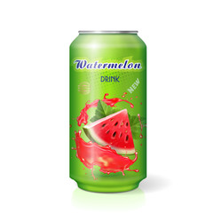 Watermelon drink metal tin can. Vector realistic illustration