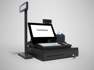 Black cash register with cashback service in 50 percent 3d render on gray background with shadow