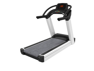 Black treadmill with electronic modes for training 3D render on white background no shadow