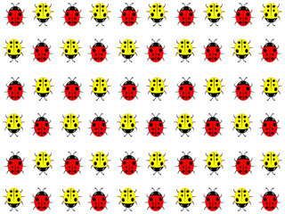 The beautiful simple design of the white background from the red and yellow ladybirds