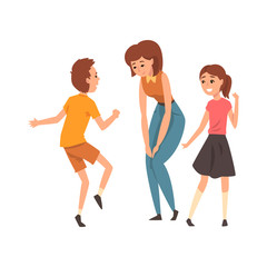 Mother having a good time with her son and daughter, happy family, parenting concept vector Illustration