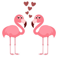 cute flamingo with hearts, vector illustration
