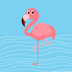 cute flamingo on blue background, vector illustration