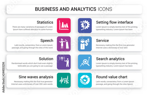 16 business and analytics vector icons set included round