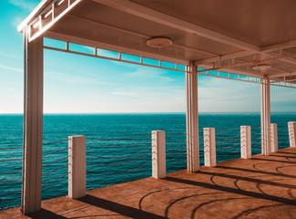 Beautiful sea and the deck. Batumi.Georgia